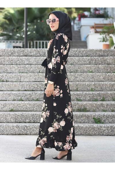 Lazeyn Kadın Balon Kol Desenli Elbise