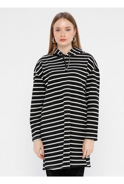Çat Pat Tekstil Kadın Kapüşon Detaylı Çizgili Sweatshirt