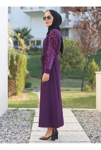 Lazeyn Kadın Kolları Pullu Mira Elbise