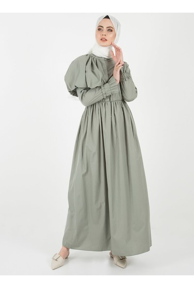 Liolle Kadın Tek Omuzu Balon Detaylı Elbise