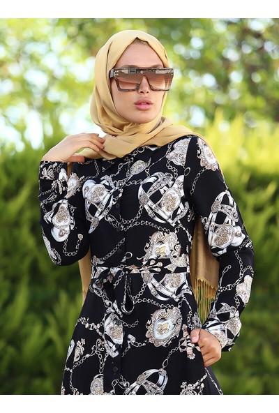 Lazeyn Kadın Desenli Gömlek Elbise