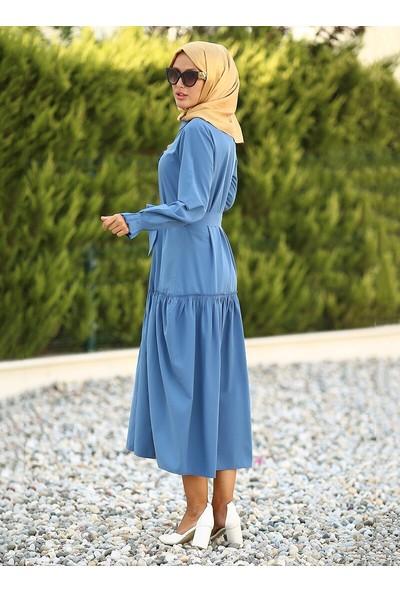 Lazeyn Kadın Tahta Düğmeli Kuşaklı Gömlek Elbise