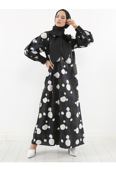 Liolle Kadın Polka Grafik Desenli Elbise