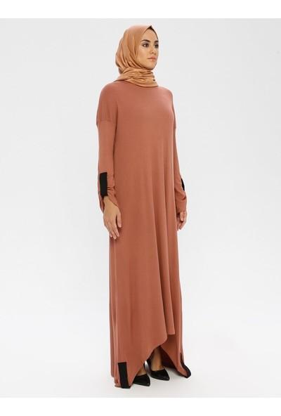 Peker Kadın Kontrast Manşetli Fitilli Asimetrik Elbise