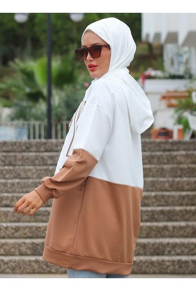 Lazeyn Kadın Pamuklu İki Renk Baskılı Tunik