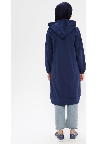Marwella Kadın Kapüşonlu Uzun Sweatshirt
