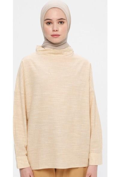 A Point Kadın Çizgili Keten Bluz