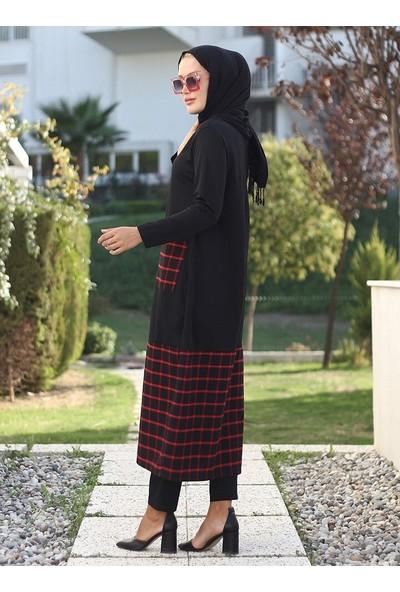 Lazeyn Kadın Cebi Eteği Ekose Mira Elbise