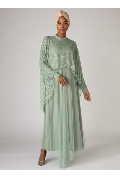 Mwedding Dantel Pelerin Detaylı Abiye Elbise