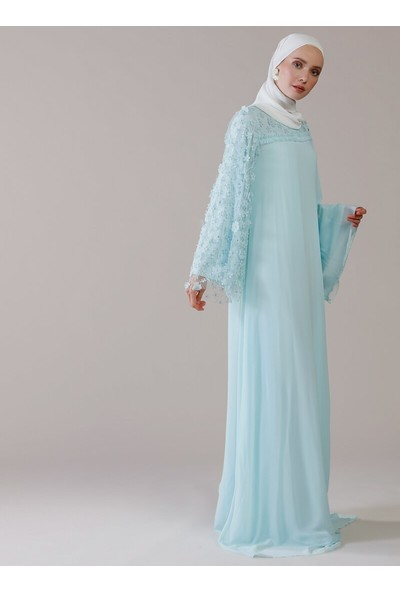 Mwedding 3 Boyutlu Çiçek Detaylı Şifon Abiye Elbise