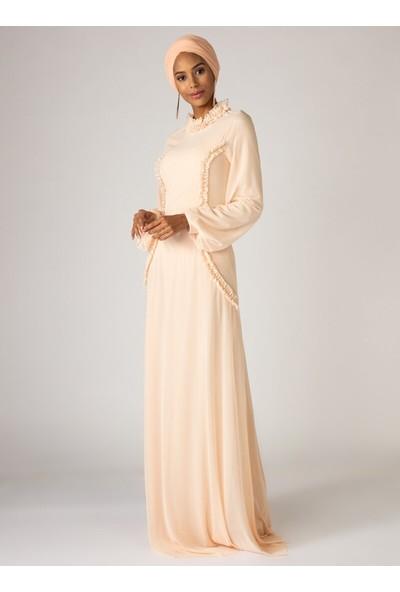Mwedding Fırfır Detaylı Tüllü Abiye Elbise