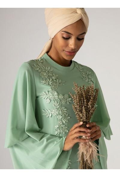 Mwedding Güpür Detaylı Tüllü Abiye Elbise