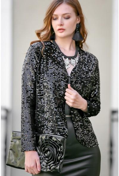 Chiccy Vintage Siyah Pul Payetli Cepken Ceket