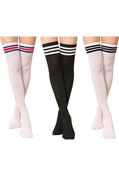 Gowith Pamuklu 3'lü Dizüstü Koncu Çemberli Likralı Kadın Çorap