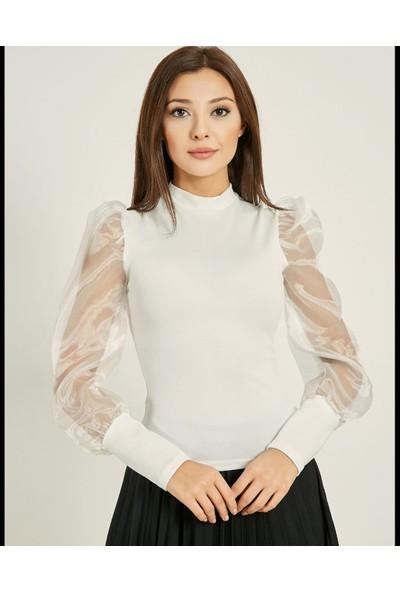 Next Trend Beyaz Kolları Tül Selanik Bluz NEXT3515
