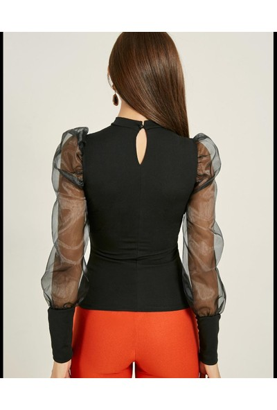 Next Trend Siyah Kolları Tül Selanik Bluz NEXT3515