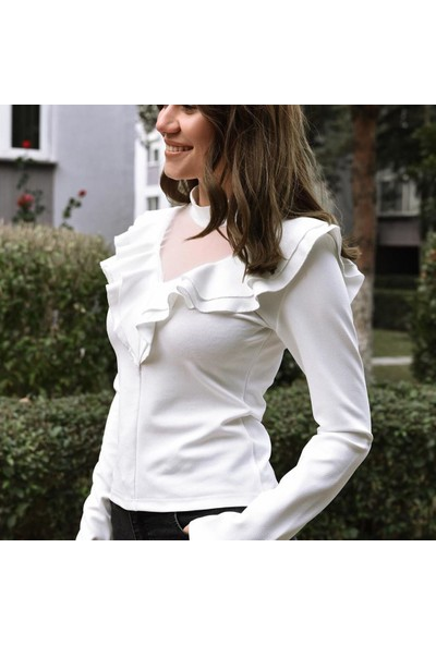 Next Trend Beyaz Tül Detaylı Bluz Next3528