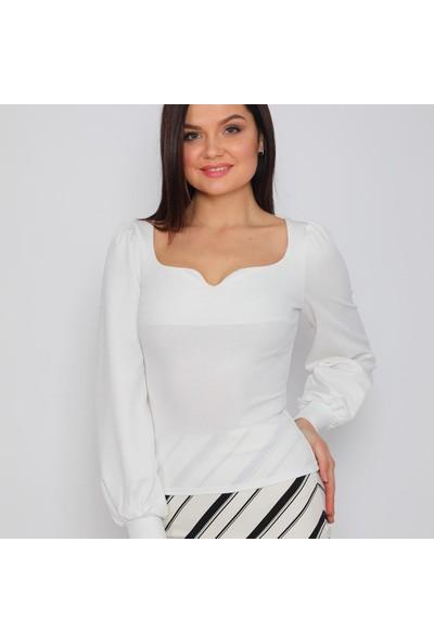 Next Trend Beyaz Sırt Dekolte Detaylı Bluz Next3542
