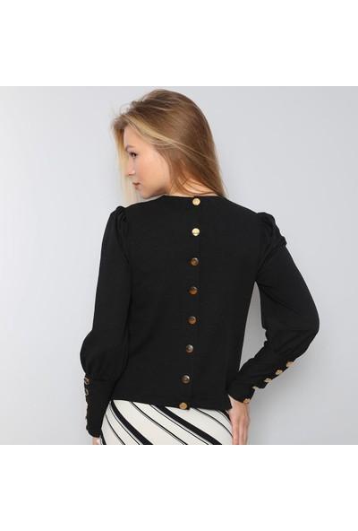 Next Trend Siyah Düğme Detaylı Bluz NEXT3534