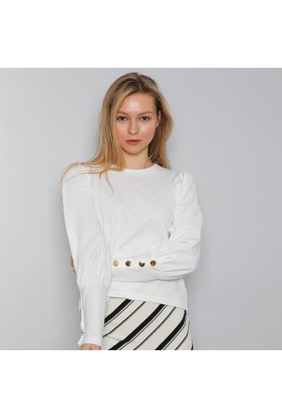Next Trend Beyaz Düğme Detaylı Bluz NEXT3534