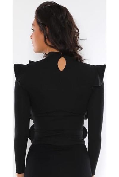 Next Trend Siyah Fırfır Detaylı Bluz Next3503
