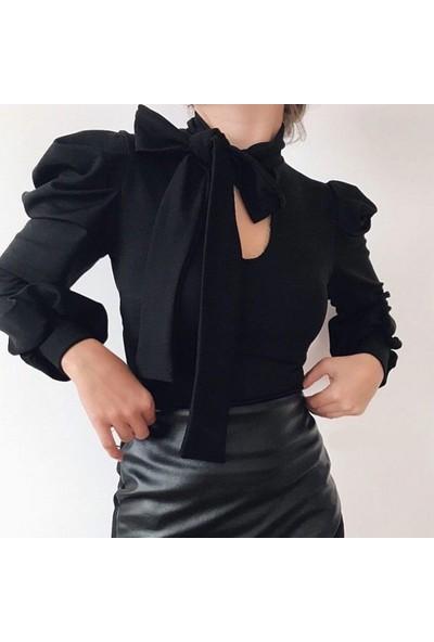 Next Trend Siyah Karpuz Kol Boyun Kuşaklı Bluz Next3502