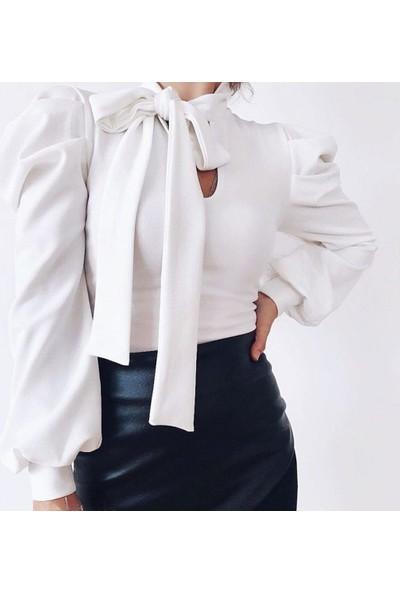 Next Trend Beyaz Karpuz Kol Boyun Kuşaklı Bluz Next3502