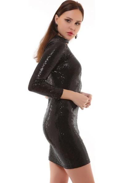 Joyin Joy Siyah Payetli Detaylı Tek Omuz ElbiseJoy1201