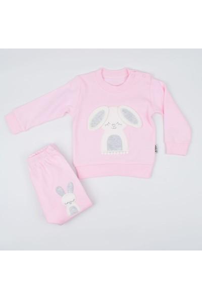 Elci Tavşan Çıkartmalı 2'li Kız Bebek Takımı