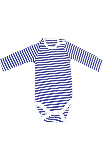 Fuar Unisex Mavi Çizgili Çıt Çıtlı Bebek Zıbın