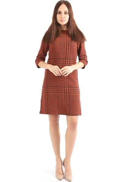 Sense Kadın Uzun Kollu Ekose Elbise Elb32153