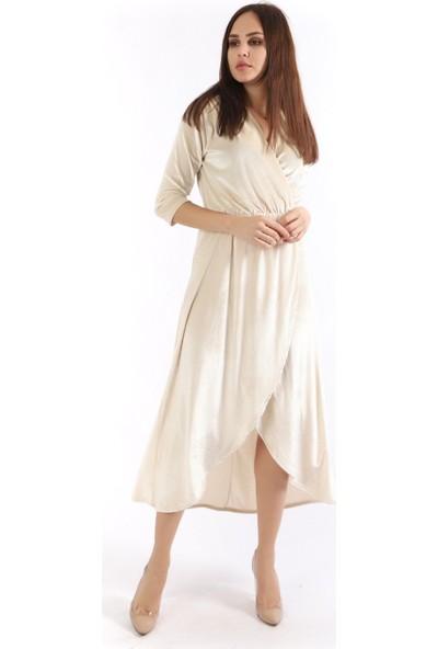 Sense Kadın Kruvaze Yaka Eteği Parçalı Kadife Elbise Elb31776