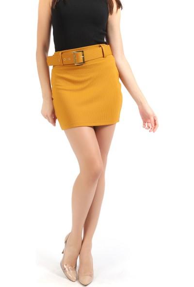 Sense Kadın Sarı Toka Kemerli Likralı Fitilli Etek Etk32373
