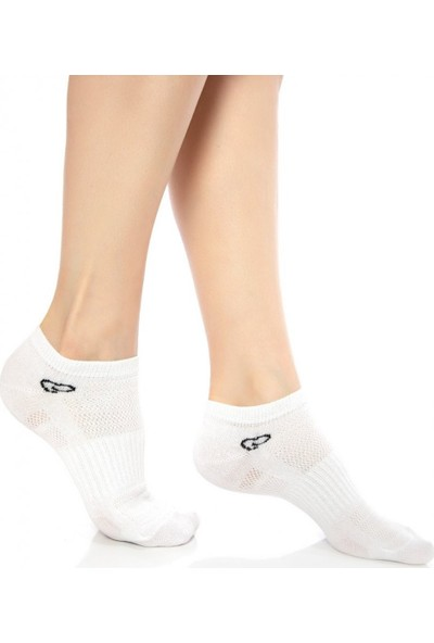 Ebru Şallı Beyaz Renk 3'lü Set Sneaker Çorap