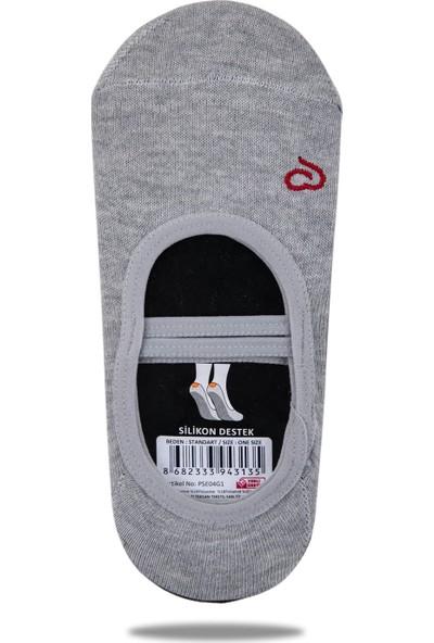 Ebru Şallı Gri Silikon Tabanlı Pilates Yoga Çorabı