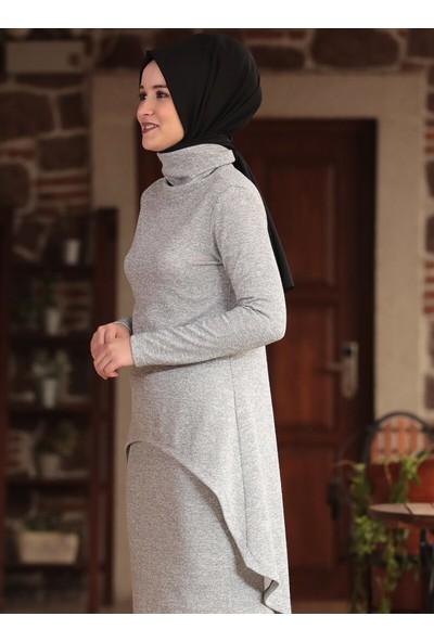 Amine Hüma Kadın Övgü Triko İkili Takım Gri