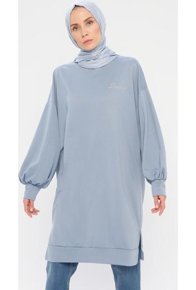 Laruj Kadın Balon Kollu Tunik Mavi