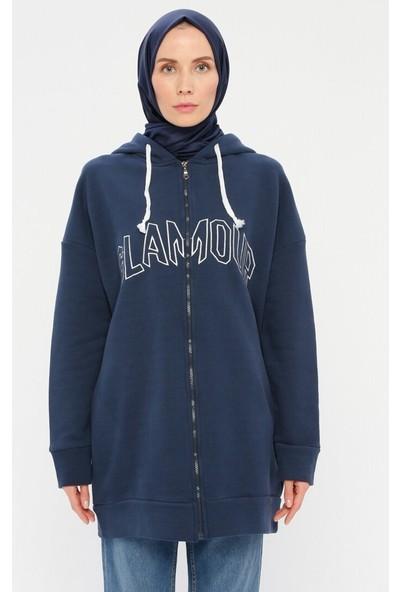 Laruj Kadın Fermuarlı Sweatshirt Lacivert