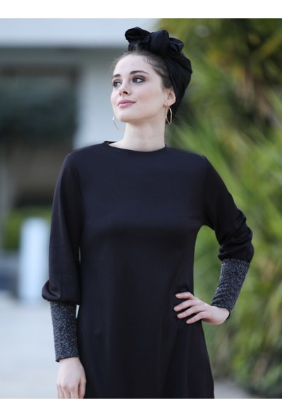 Selma Sarı Design Kadın Simli Uzun Tunik Siyah