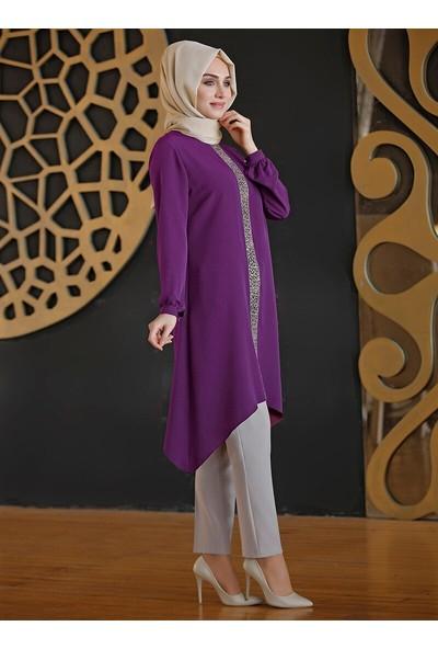 Nurkombin Kadın Pırıl Tunik Mor