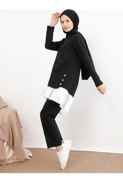 İnşirah Kadın Tunik Pantolon 2`Li Takım Siyah