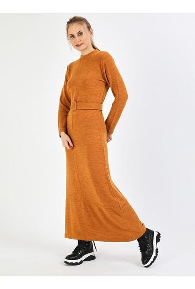 İlmek Triko Kadın Kemerli Elbise Hardal