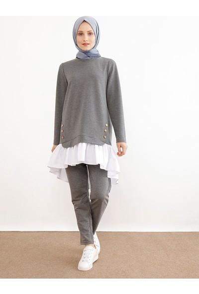 İnşirah Kadın Tunik Pantolon 2`Li Takım Füme