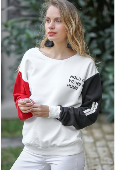Chiccy Slogan Baskılı Kırmızı Siyah Kollu Fermuar Detaylı Sweat