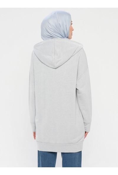 Laruj Kadın Fermuarlı Sweatshirt Buz Mavisi