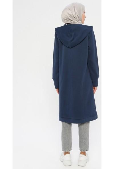 Laruj Kadın Kapüşon Detaylı Fermuarlı Tunik Lacivert