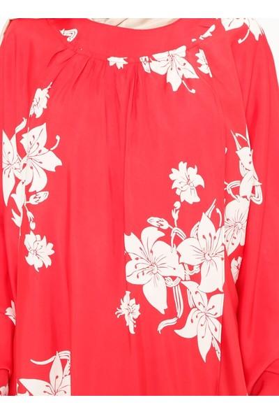 ModaNaz Kadın Yarasa Kollu Çiçek Desenli Tunik Mercan