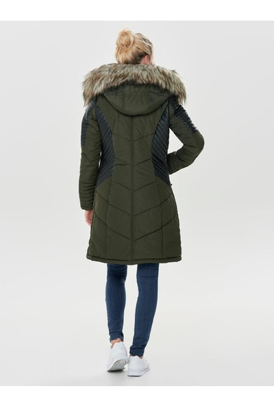 Only Kadın Günlük Mont 15160168-PEAT Yeşil Onllinette Fur Hood Nylon Coat Otw