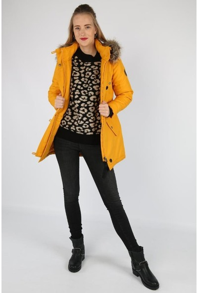Only Sarı Kadın Montu 15181307-Golden Yellow Onliris Fur Parka Cc Otw