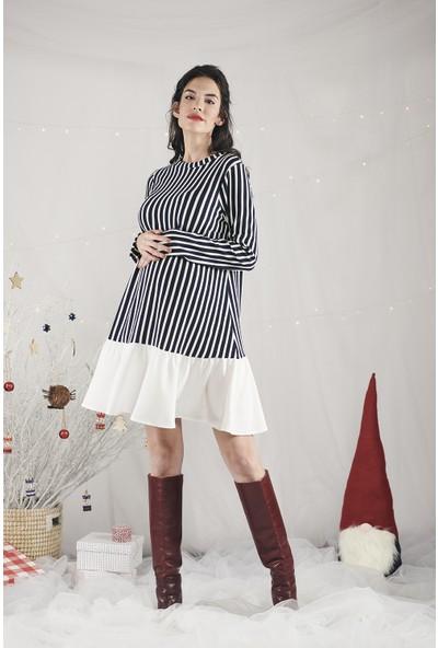 Lyn Devon Kadın Shir Elbise Lacivert